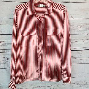 Vintage Red and white striped top Polyester 18